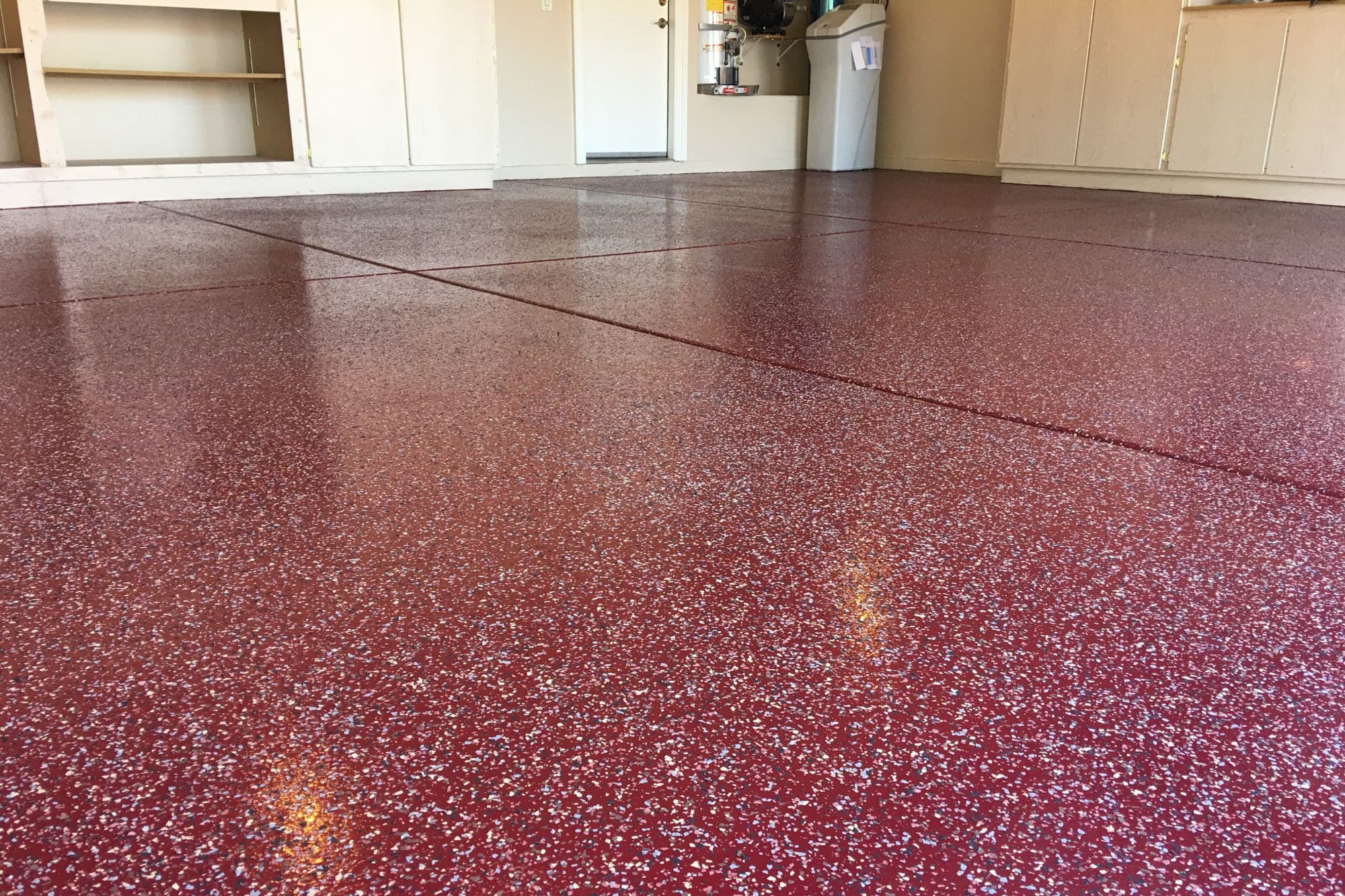 Garage Epoxy Coating With Decorative Flakes And Sealer