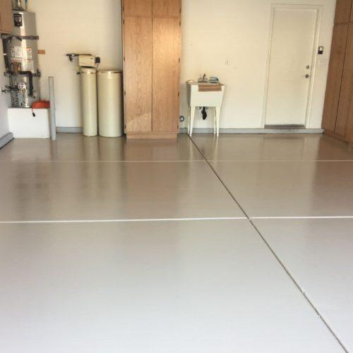 Garage Epoxy Coating With Decorative Flakes And Sealer